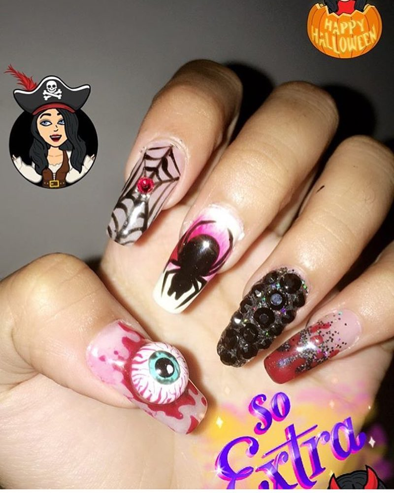 55 Scary Halloween Nail Art Design Ideas | CollageCab