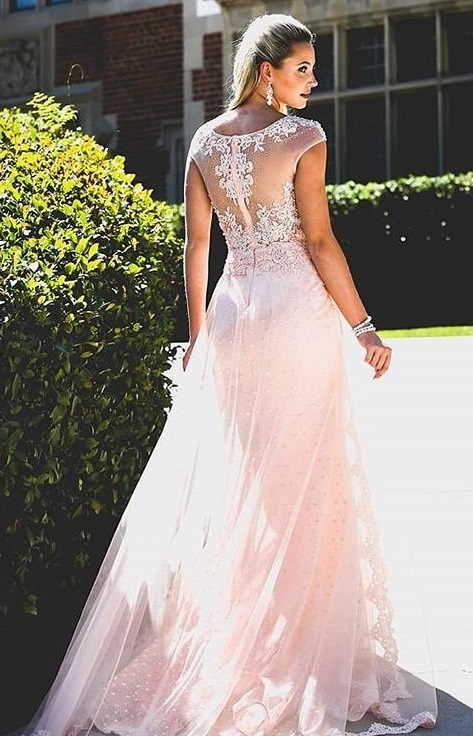 Amazing Baby Pink Long Bridal Gown For Summer