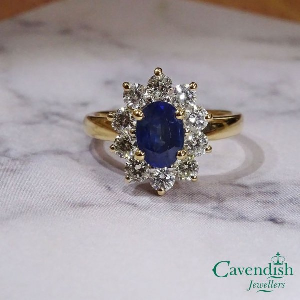 Antique Sapphire With Diamond Engagement Ring