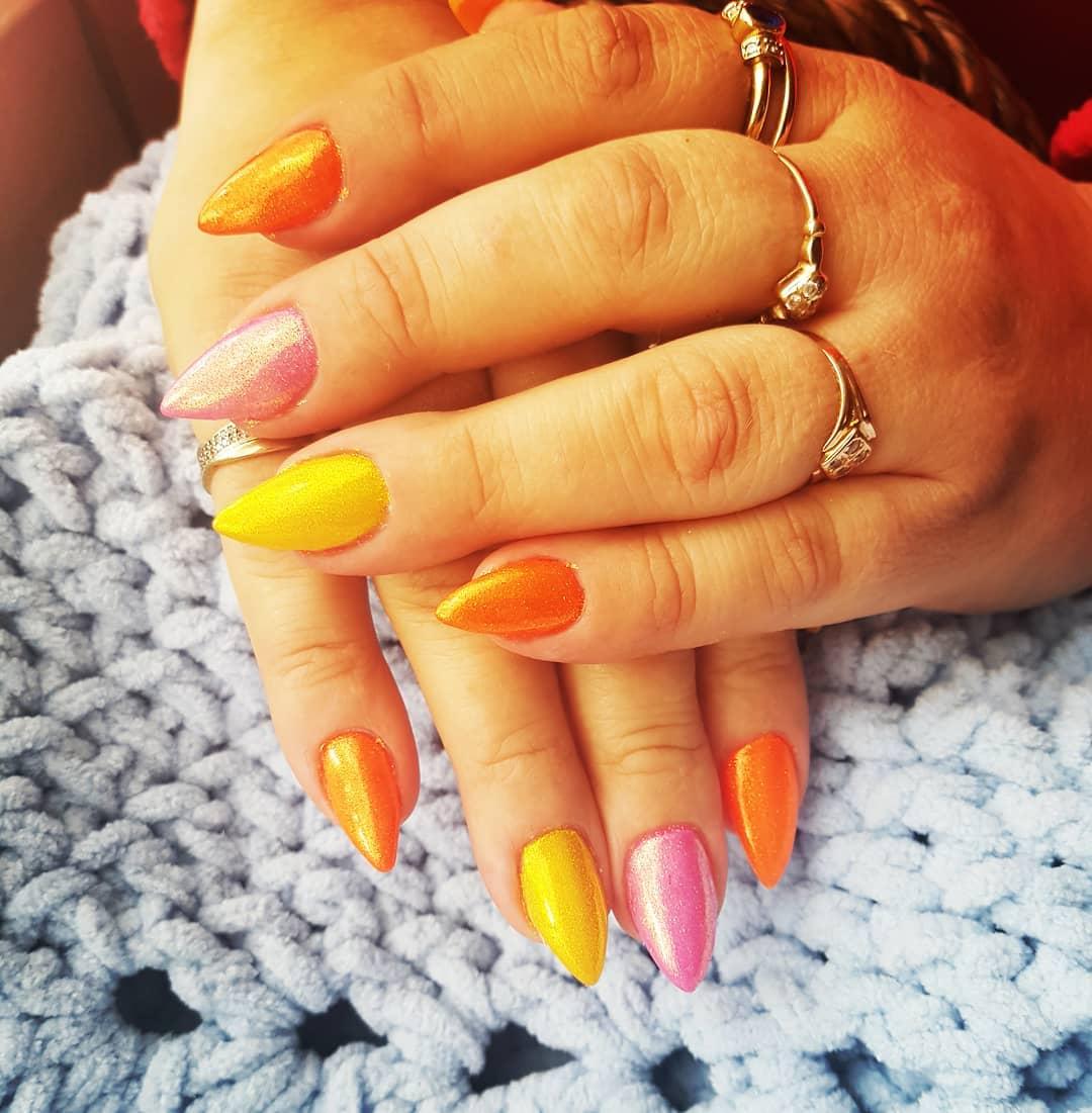 Awesome Neon Stiletto Nails
