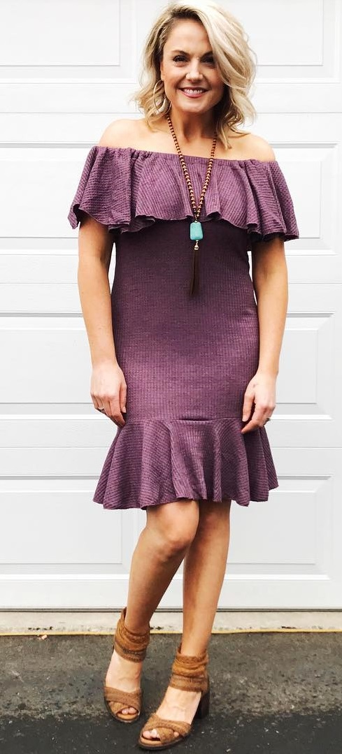 Awesome Off The Shoulder Violet Dress With High Heels