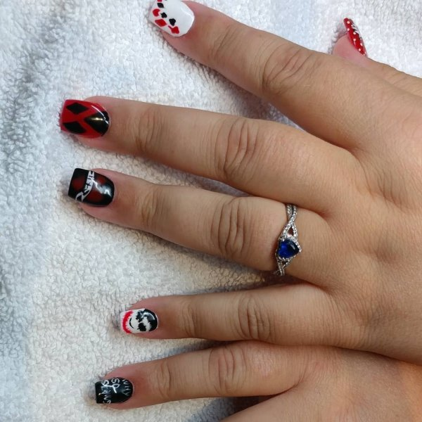 Beautiful Black And Red Halloween Nails
