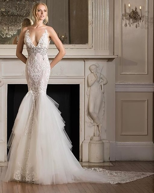 Beautiful Lace Gown With Textured Skirt And Crystal Embellishments