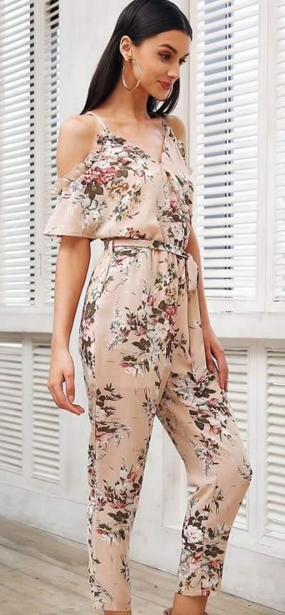 Beige Floral Print Cold Shoulder Jumpsuit