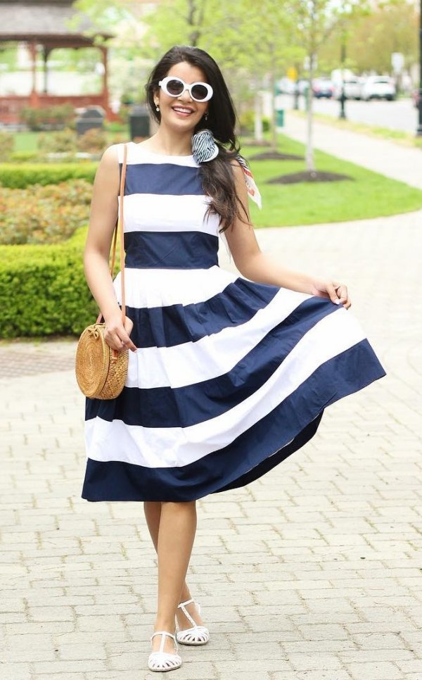 Black And White Bold Stripes Dress With White Flats And Sunglasses