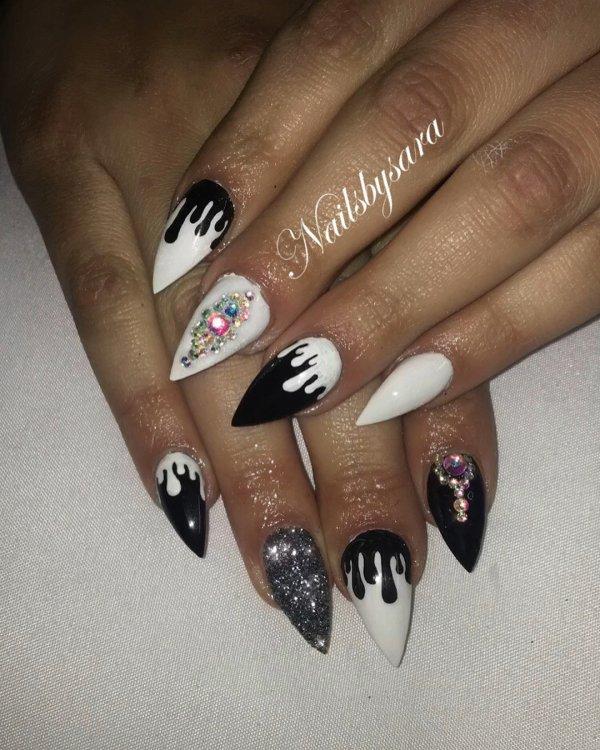 Black And White Designer Nails With Swarovski Crystals