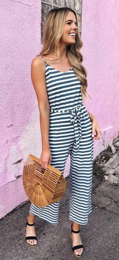 Black And White Stripes Jumpsuit With Black Heels