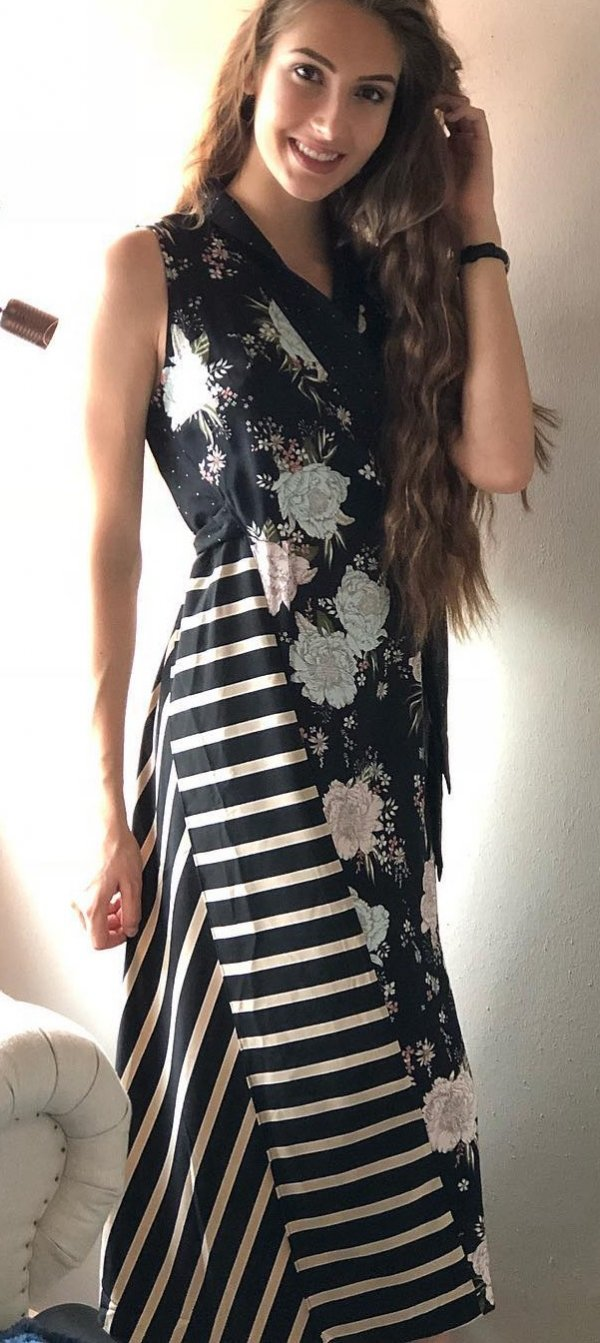 Black Floral And Stripes Pattern Maxi Dress