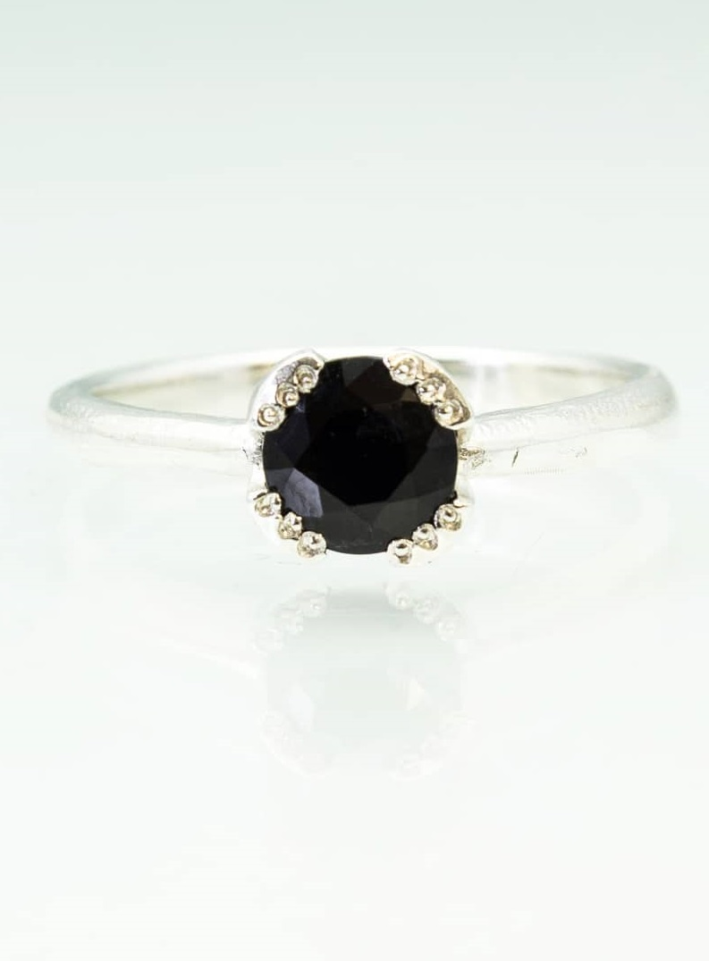 Black Sapphire Engagement Ring For Beautiful Bride