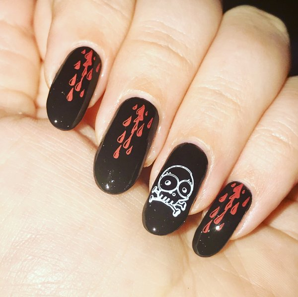Black Skull With Blood Halloween Nail Manicure