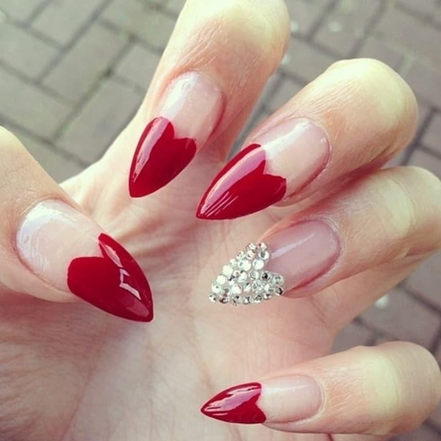 Blood Red Heart Shape Stiletto Nails With Swarovski