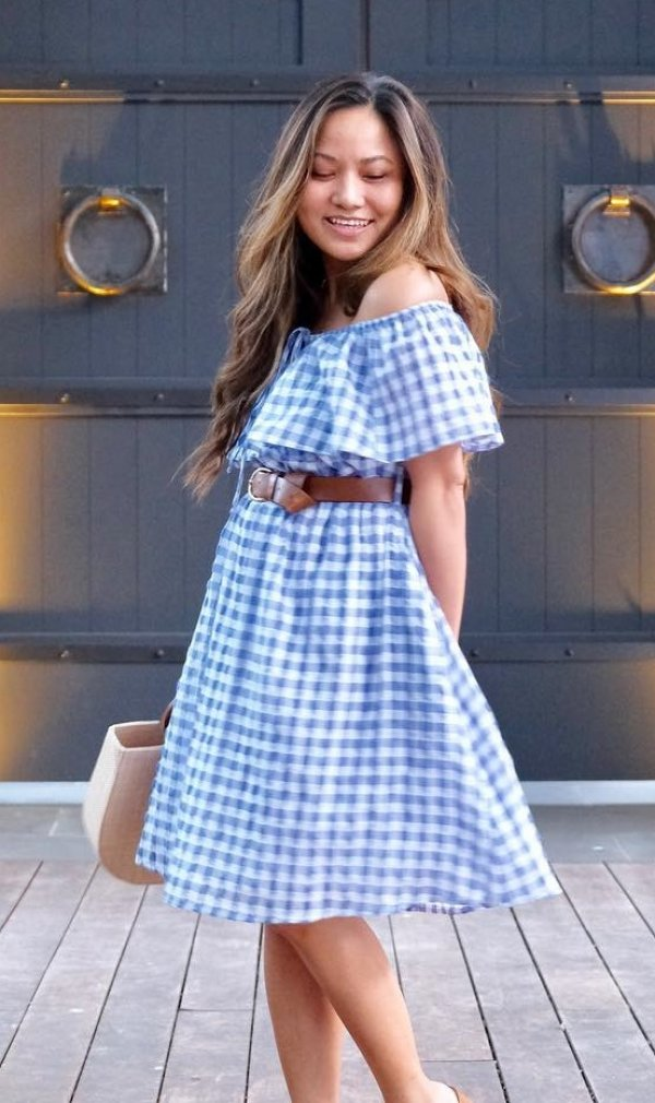 Blue Gingham Off Shoulder Dresses With Leather Belt At Waist