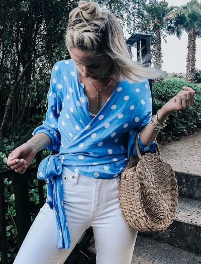 Blue Polka Dots Wrap Top, White Jeans And Flats