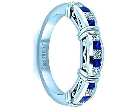 Blue Sapphire & Diamond Wedding Bridal Band