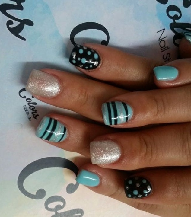 Blue and Black Polka Dots and Stripes Nails