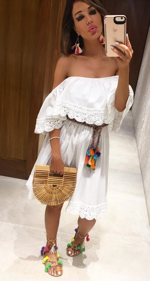 Bohemian Style Off The Shoulder White Dress And Sandals