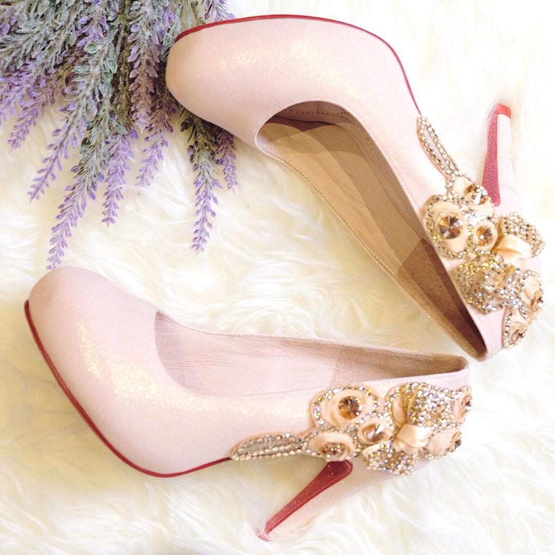 Bohemian Style Rounded Toe Stilettos For Bride