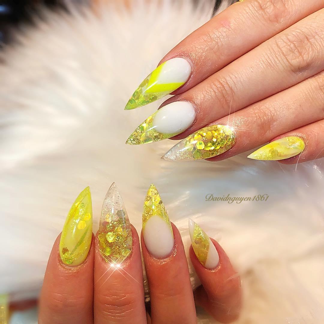 Breezing Yellow Sparkly Stiletto Nails