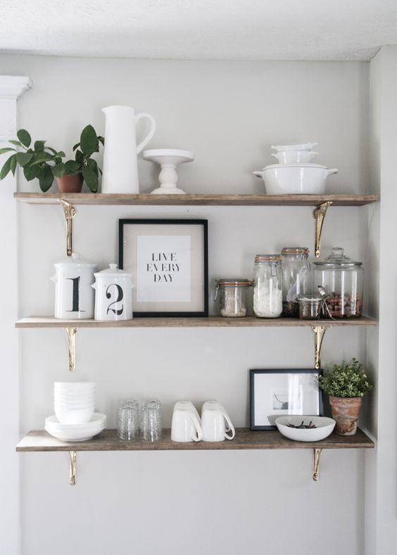 Bright Colored Kitchen Shelves For Keeping Cookbooks