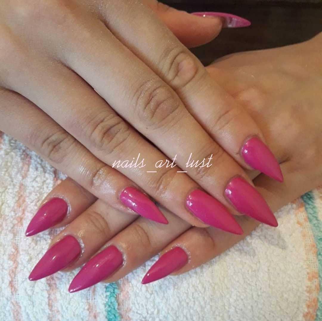 Bright Pink Stiletto Nails
