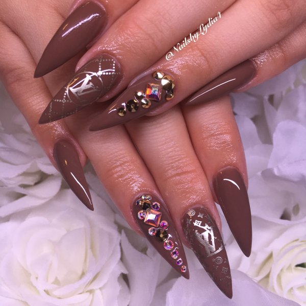 Brown Stiletto Nails With Crystals