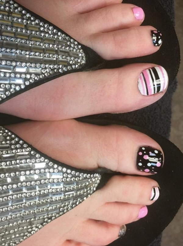 Charismatic Stripes And Polka Dots Nails