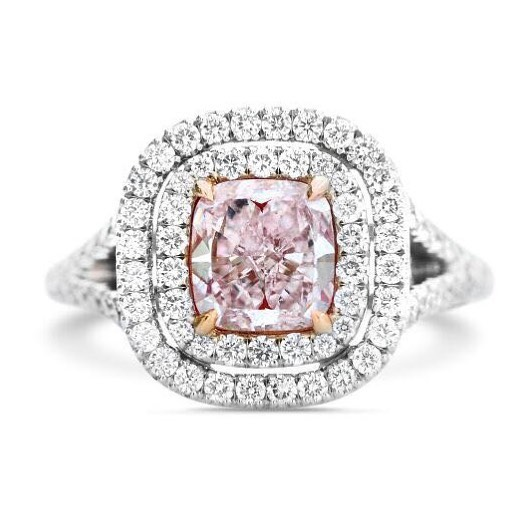 Chic Double Halo Split Shank Pink Cushion Diamond Ring