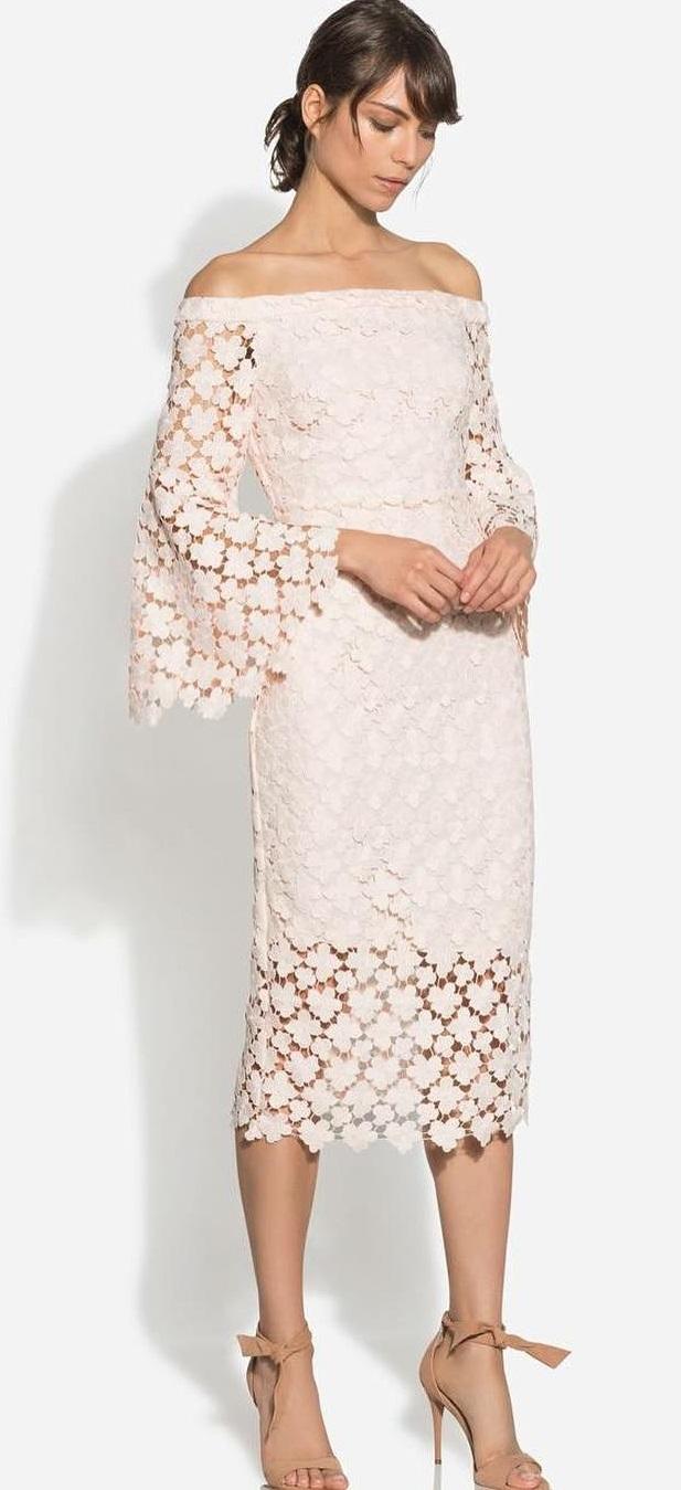 Chic Lace Tee Length Wedding Dress