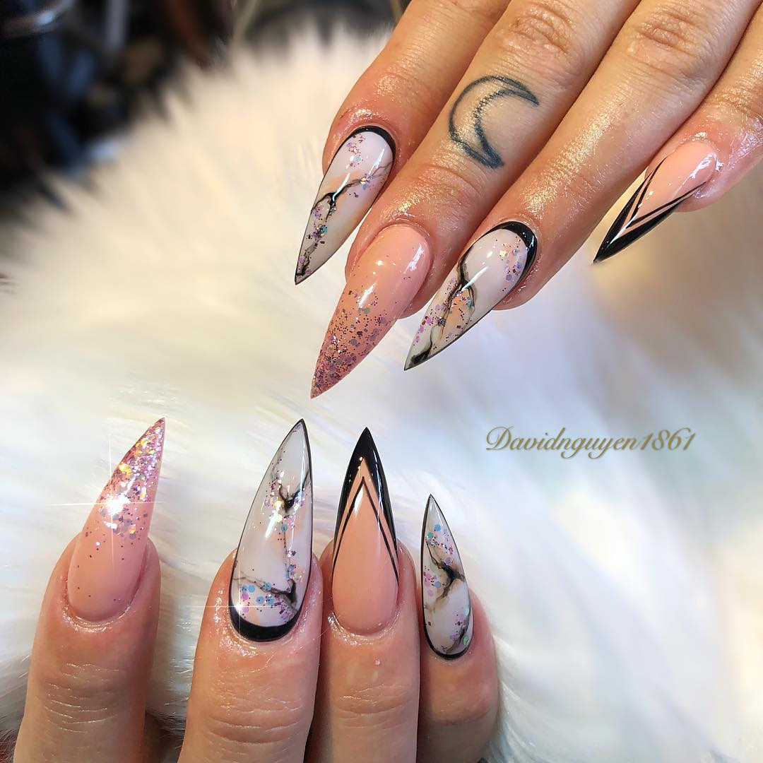 Chic Marble Stiletto Nails