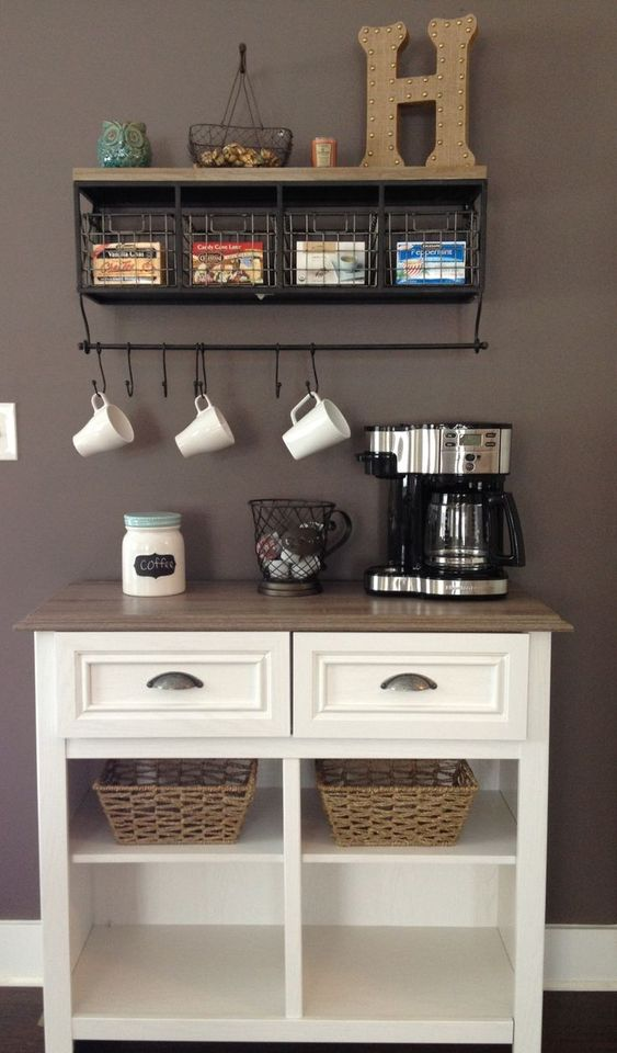 Chic Metal And Wooden Kitchen Rack With Space Blocks And Hooks