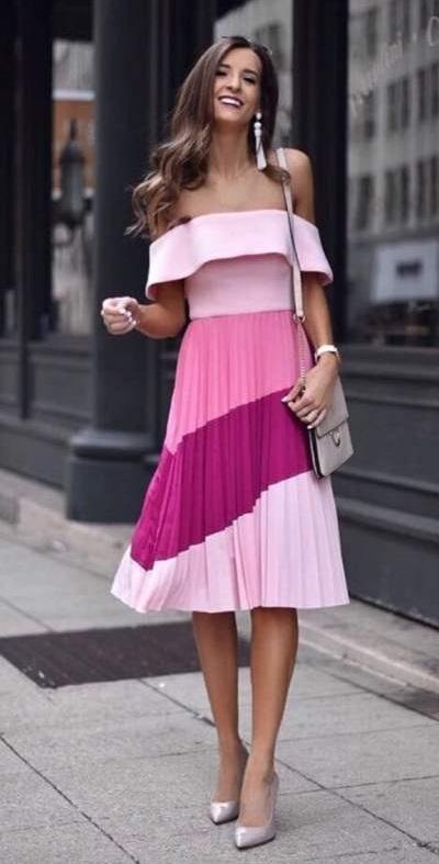 Chic Off Shoulder Multi Shades Pink Dress