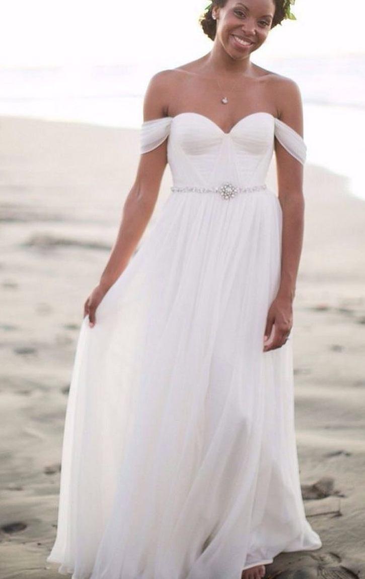 Chiffon Off The Shoulder Bridal Wear With Ornate Waistline