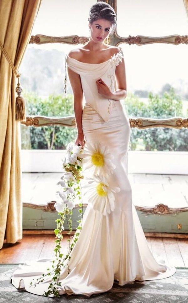 Classic Satin Wedding Dress With Big Flowers On It