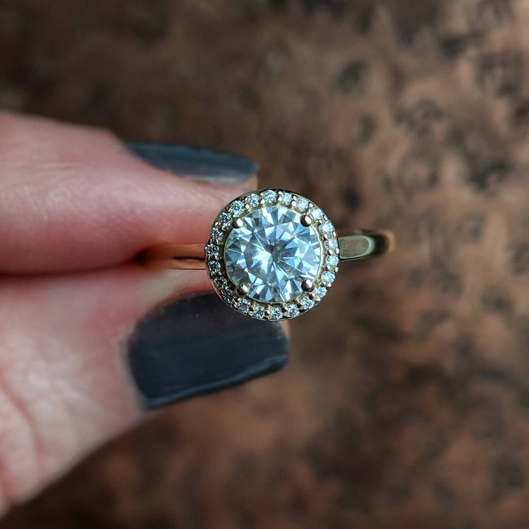 Classy Halo Crystal Engagement Ring