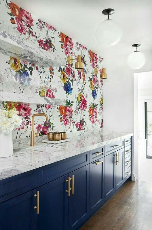 Colorful Floral Wall Paper Look Gorgeous