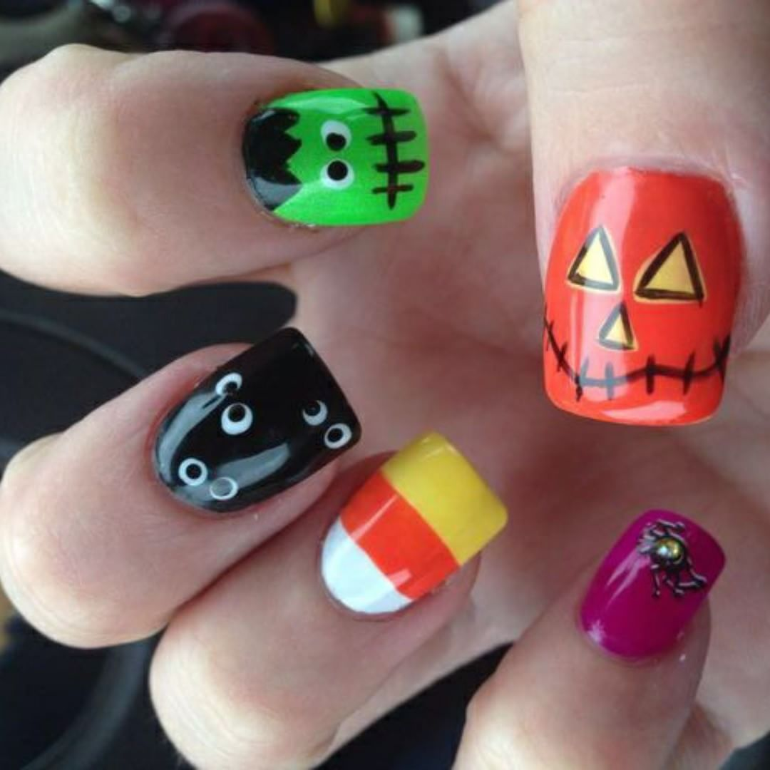 Colorful Nails With Scary Eyes And Face