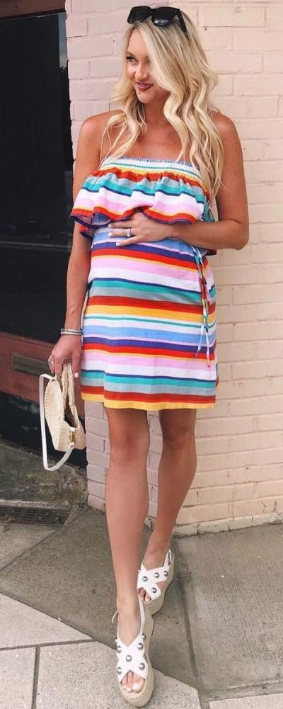 Colorful Stripes Off The Shoulder Short Dress And Sandals For Pregnant Women