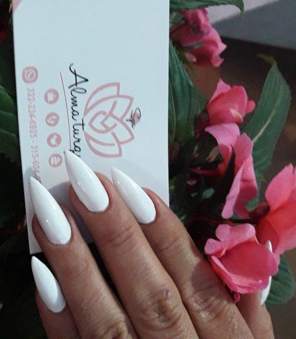 Cool White Stiletto Nails