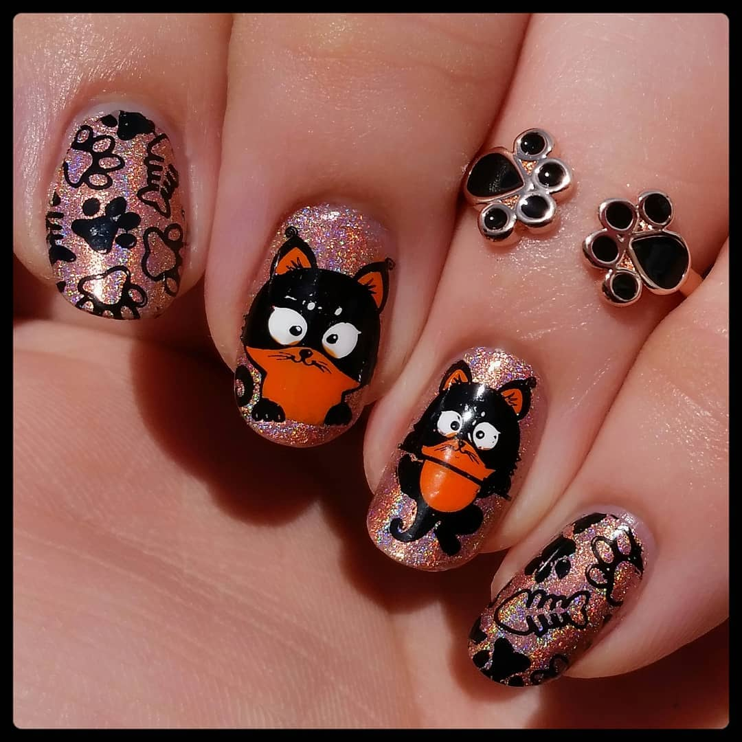 Copper And Black Halloween Nail Art