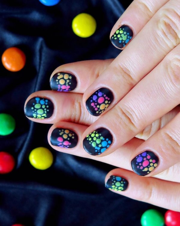 Creative Rainbow Polka Dot Nail Art On Black Base