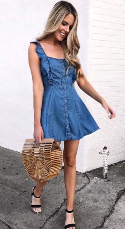 Cute Denim Short Dress With High Heels