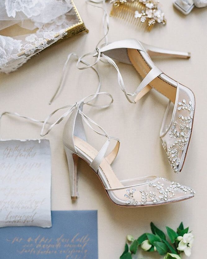 Dainty Silver Beads Wedding Shoes