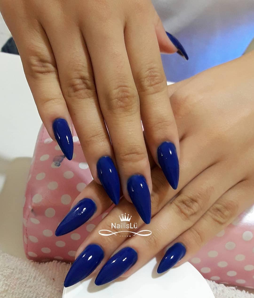 Dark Blue Stiletto Nails