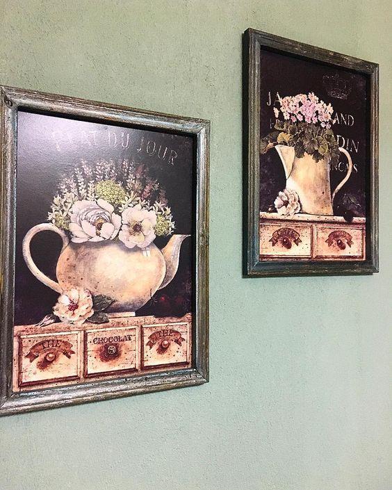 Dashing Flower Vase Frames To Hang At Kitchen Walls