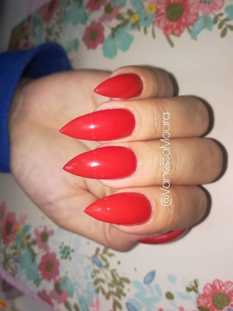 Dashing Red Stiletto Nails