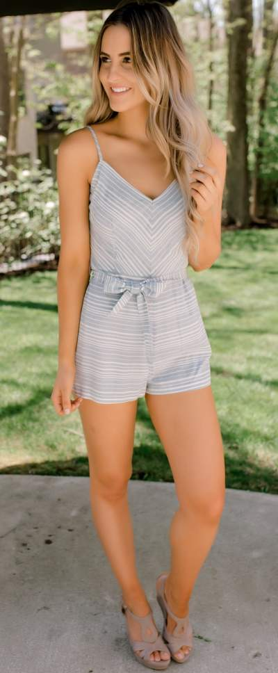 Decent Gray Stripes Romper With Sandals