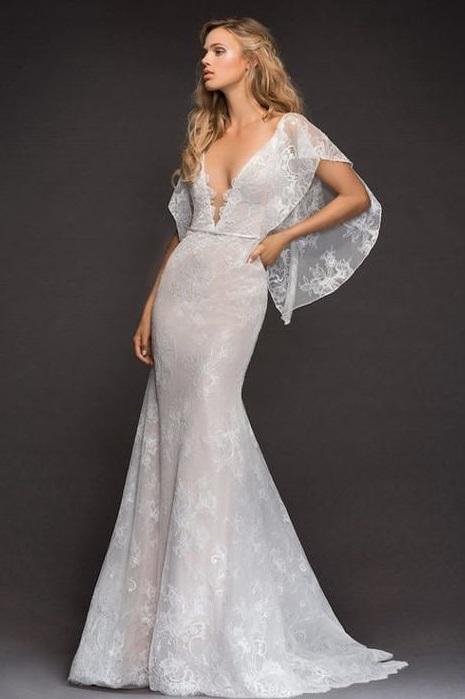 Deep Neckline Cut Mermaid Wedding Dress With Capped Sleeves