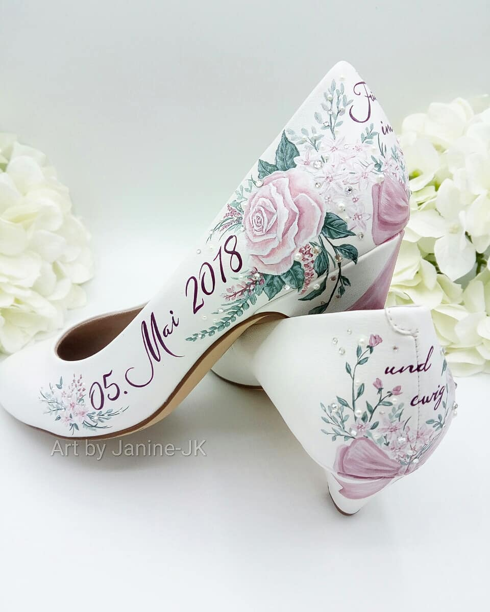 Delicately Designed Floral Print Beautiful Bridal Shoes