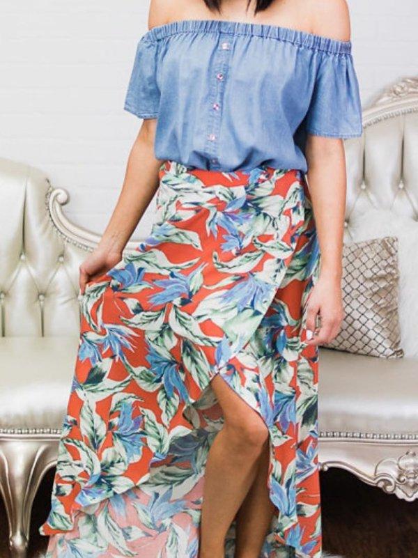 Denim Off Shoulder Top And Floral Wrap Skirt
