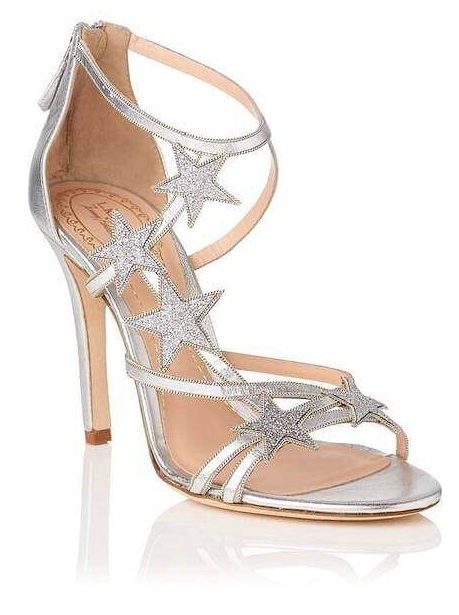 Designer Silver Leather Sandals With Stars